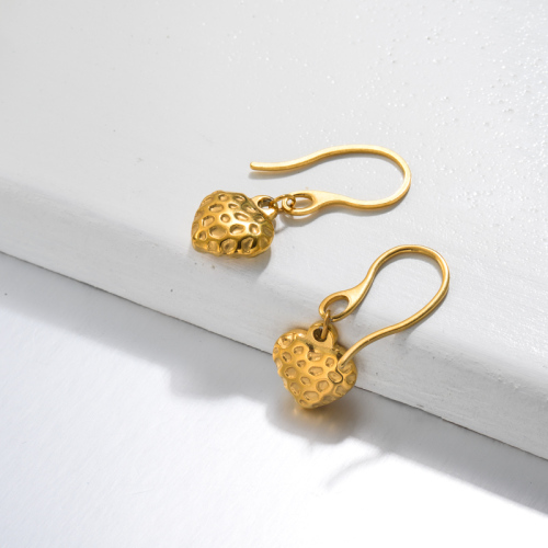 Pendientes Gota Corazón Fresa Bañados en Oro 18k -SSEGG143-32814