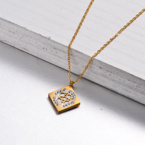 Collar con Colgante de Cristal Bañado en Oro 18k -SSNEG143-32903