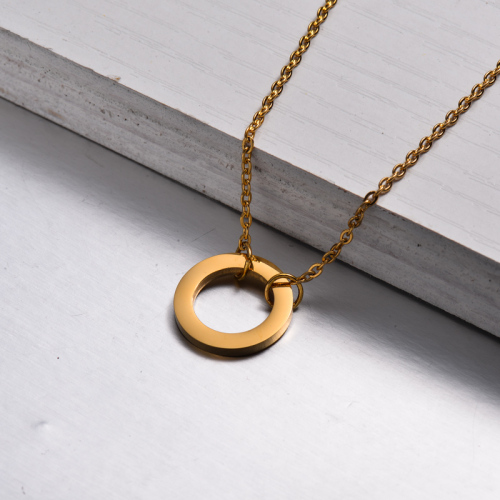 18k Gold Plated Circle Pendant Necklace -SSNEG143-32901
