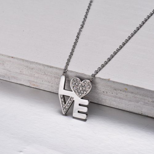 Collar con Colgante Amor de Cristal de Acero Inoxidable -SSNEG143-32844