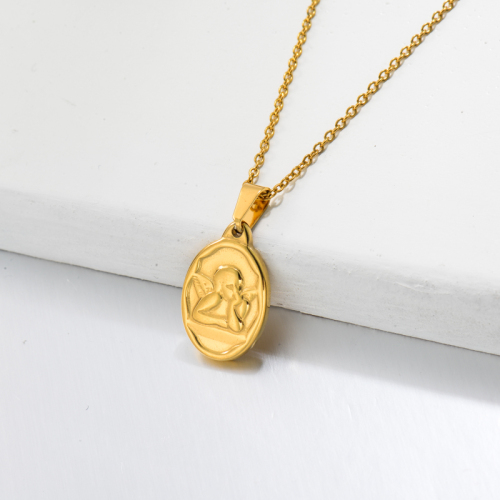 18k Gold Plated Angel with Wing Pendant Necklace -SSNEG143-32735