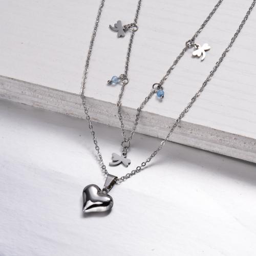 Collier en couches en forme de cœur en acier inoxydable -SSNEG143-33000