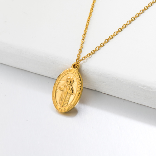18k Gold Plated San Benito Medal Pendant Necklace -SSNEG143-32731
