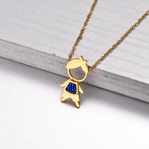 Collar Niño con Colgante de Cristal Chapado en Oro 18k -SSNEG143-32838