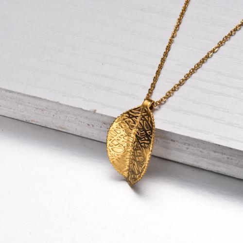 Collar Colgante Hoja Chapado En Oro 18k -SSNEG143-32830