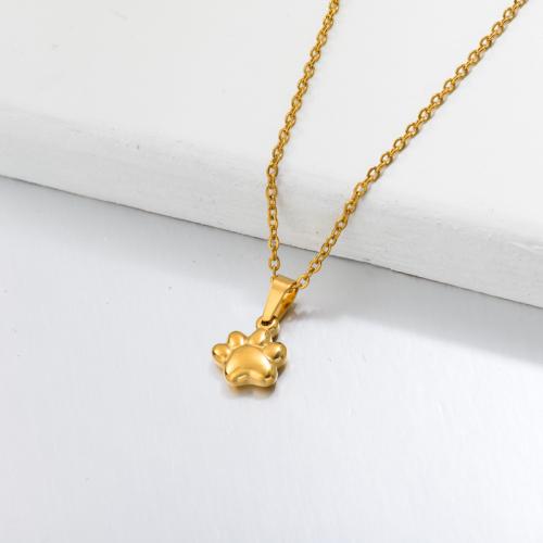 Collar Colgante Pata Chapado En Oro 18k -SSNEG143-32657