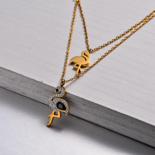 Collar a Capas de Cristal Bañado en Oro 18k -SSNEG143-32905