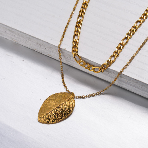 Collier Double Couche Feuille Plaqué Or 18 Carats -SSNEG143-33012