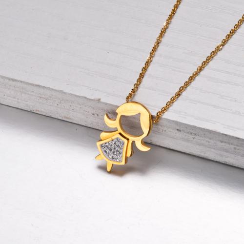 Collar Niña Cristal Colgante Chapado En Oro 18k -SSNEG143-32840