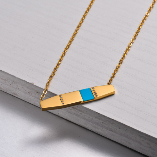 18k Gold Plated Bar Necklace -SSNEG143-32899