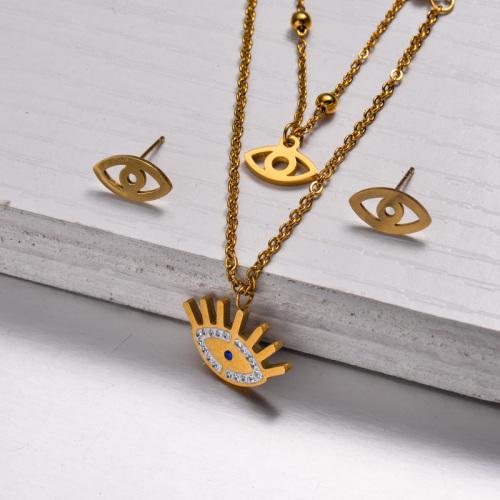 Conjuntos de Joyas de Cristal Chapado en Oro de 18k -SSCSG143-32887