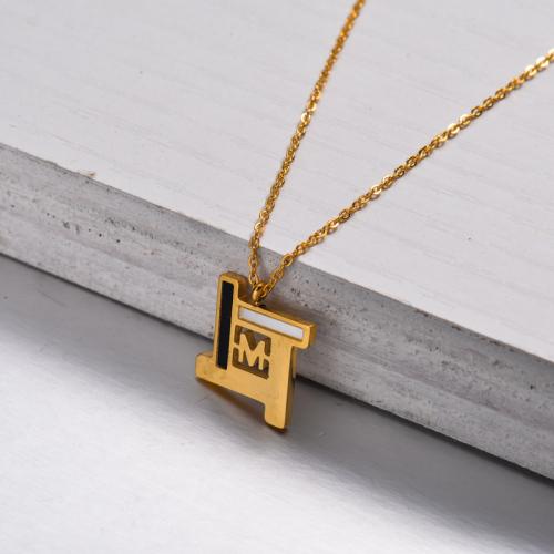 Collar con Colgante M Chapado en Oro 18k -SSNEG143-32902