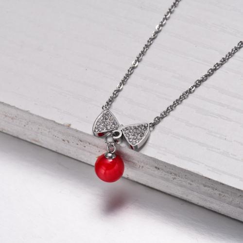 Collar Colgante Cinta Roja de Acero Inoxidable -SSNEG143-32832