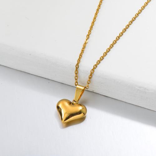 Collar Con Colgante De Corazón Delicado Chapado En Oro 18k -SSNEG143-32655
