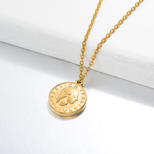 18k Gold Plated Medal Coin Pendant Necklace -SSNEG143-32727