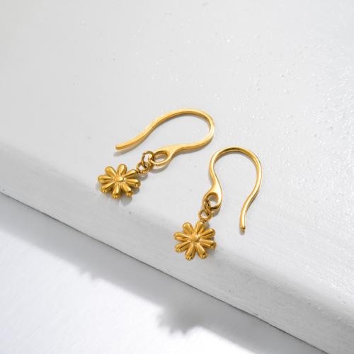 Aretes Colgantes Mini Flor De Margarita Chapados En Oro 18k -SSEGG143-32810