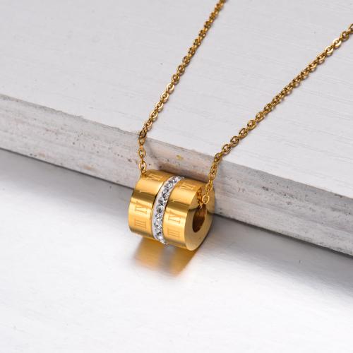 Collar con Colgante Tubo Chapado en Oro 18k -SSNEG143-32839