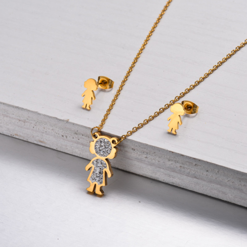 18k Gold Plated Little Girl Jewelry Sets -SSCSG143-32817