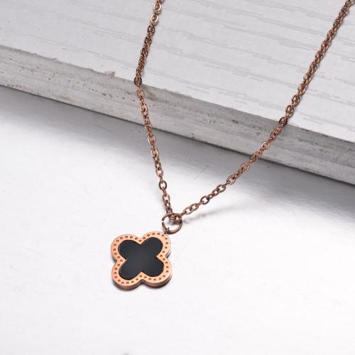 Collar Colgante Trébol Bañado en Oro Rosa -SSNEG143-32834