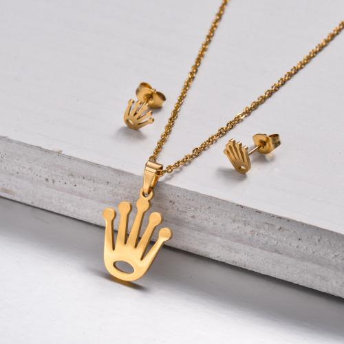 Conjuntos de Joyas de Corona Chapada en Oro de 18k -SSCSG143-32889