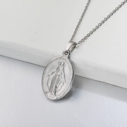 Stainless Steel San Benito Medal Pendant Necklace -SSNEG143-32707