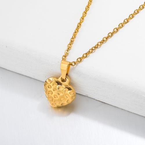 Collier Pendentif Coeur Fraise Plaqué Or 18 Carats -SSNEG143-32682