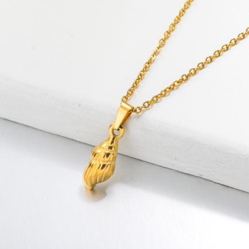 Collar Colgante Concha Marina Bañado En Oro 18k -SSNEG143-32658