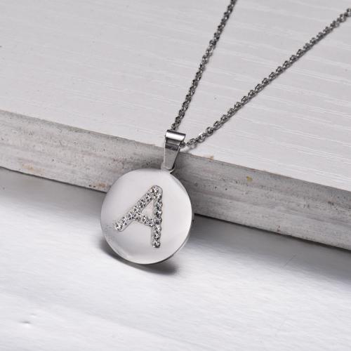 Collar Colgante Letra Inicial de Cristal de Acero Inoxidable -SSNEG143-32845
