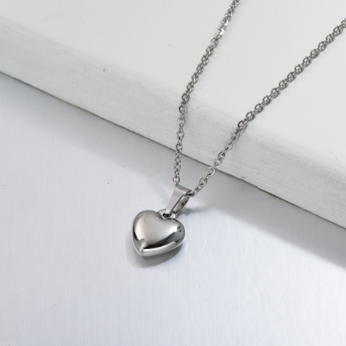 Stainless Steel Dainty Mini Heart Pendant Necklace -SSNEG143-32708