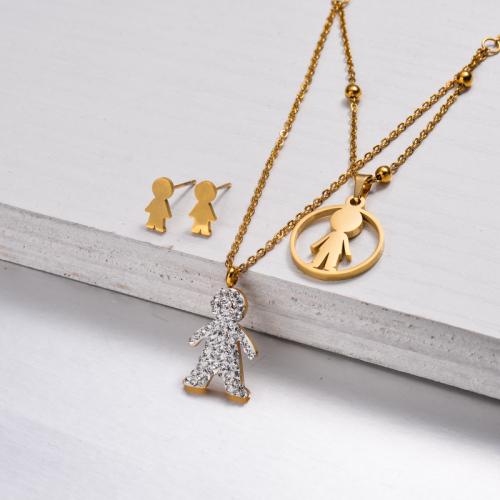 Conjuntos de Joyas de Cristal Chapado en Oro de 18k -SSCSG143-32882