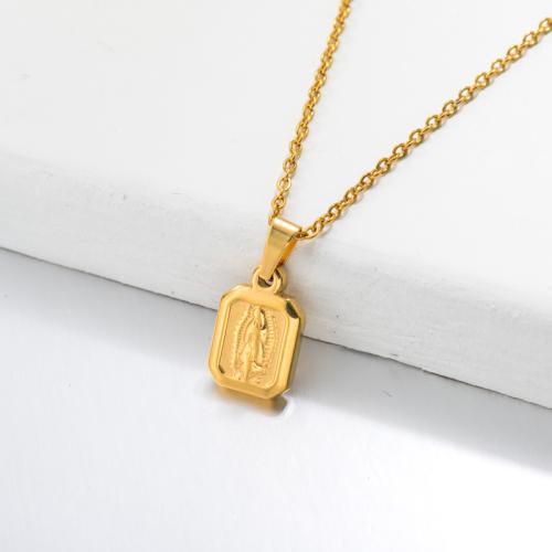 Collar con Colgante Medalla San Benito Chapado en Oro 18k -SSNEG143-32646