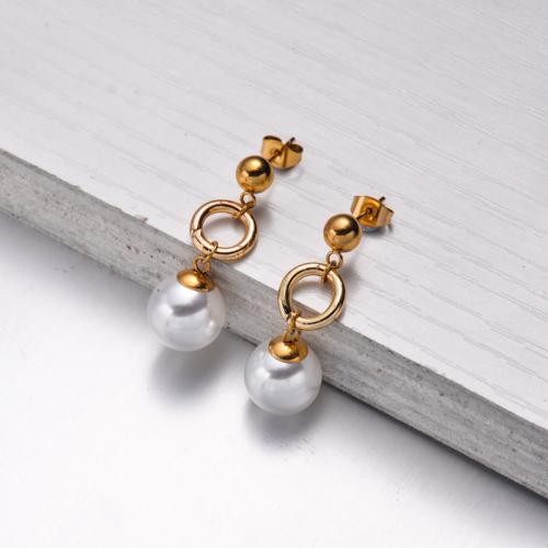 Bijoux en acier inoxydable, boucles d'oreilles—SSEGG142-33560
