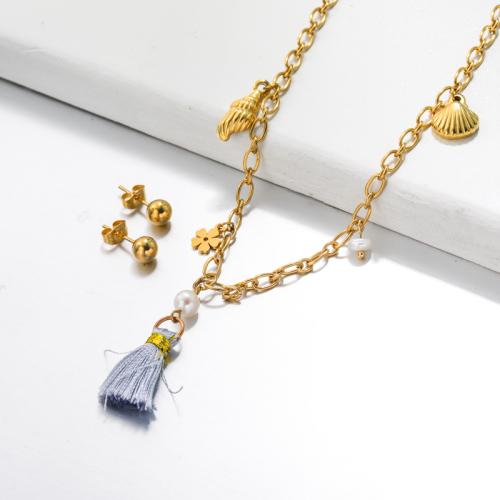 Bijoux en acier inoxydable, ensembles de bijoux—SSCSG142-33509