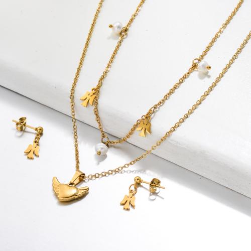 Bijoux en acier inoxydable, ensembles de bijoux—SSCSG142-33485