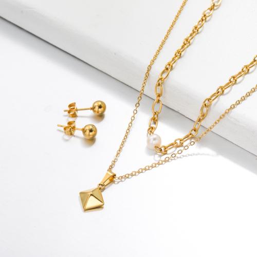 Bijoux en acier inoxydable, ensembles de bijoux—SSCSG142-33508