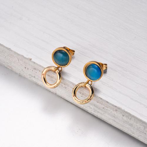 Bijoux en acier inoxydable, boucles d'oreilles—SSEGG142-33561