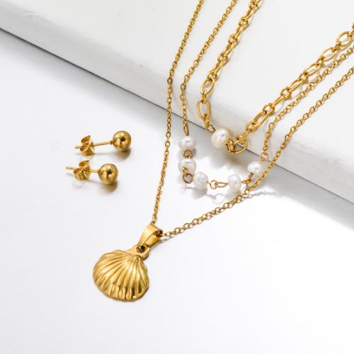 Bijoux en acier inoxydable, ensembles de bijoux—SSCSG142-33506