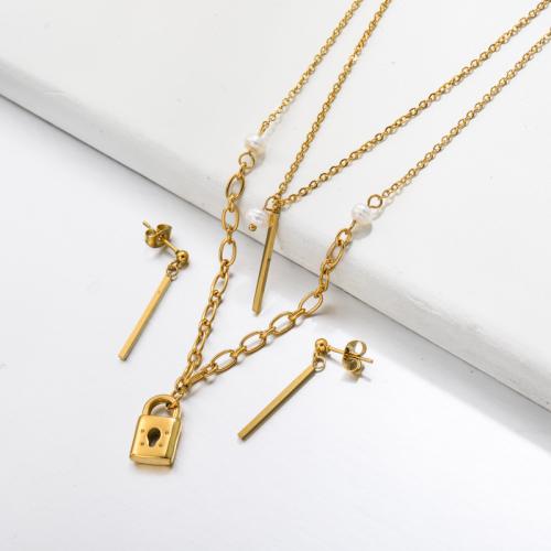 Bijoux en acier inoxydable, ensembles de bijoux—SSCSG142-33486