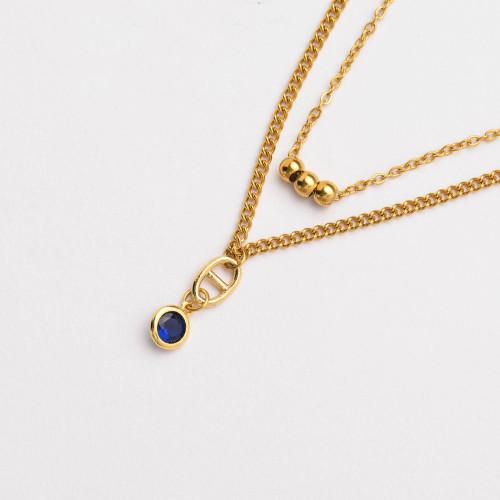 Colliers de Acero Inoxidable para Mujer al por Mayor-SSNEG142-33811