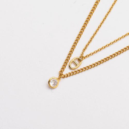 Colliers de Acero Inoxidable para Mujer al por Mayor-SSNEG142-33803