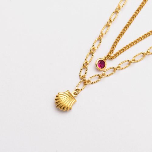 Colliers de Acero Inoxidable para Mujer al por Mayor-SSNEG142-33802