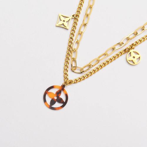 Colliers de Acero Inoxidable para Mujer al por Mayor-SSNEG142-33801