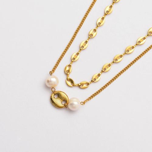Colliers de Acero Inoxidable para Mujer al por Mayor-SSNEG142-33796