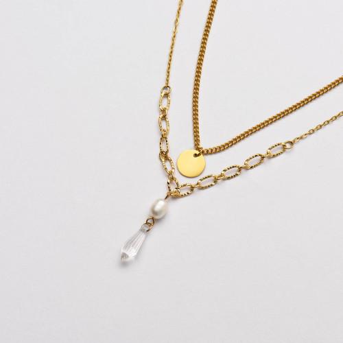 Colliers de Acero Inoxidable para Mujer al por Mayor-SSNEG142-33679