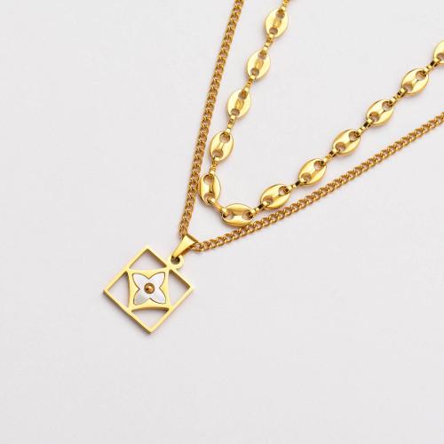 Colliers de Acero Inoxidable para Mujer al por Mayor-SSNEG142-33798