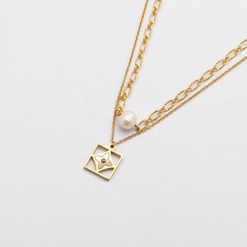 Colliers de Acero Inoxidable para Mujer al por Mayor-SSNEG142-33673