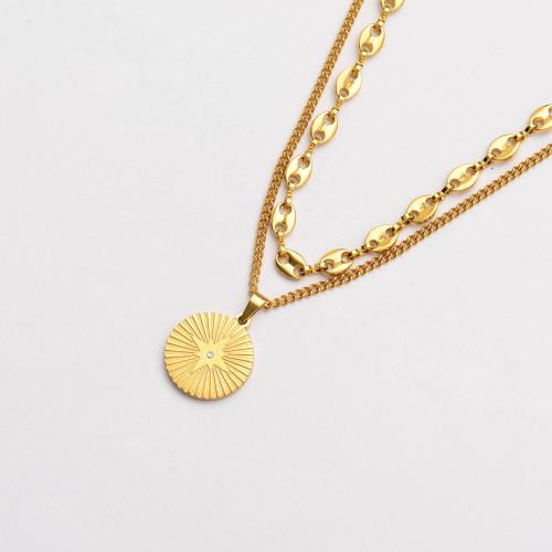 Colliers de Acero Inoxidable para Mujer al por Mayor-SSNEG142-33799