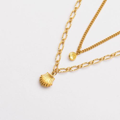 Colliers de Acero Inoxidable para Mujer al por Mayor-SSNEG142-33793