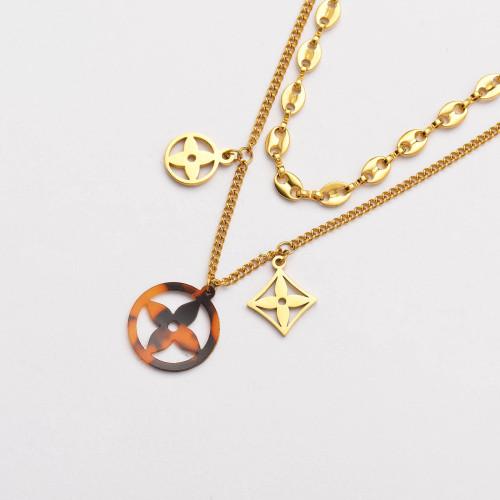 Colliers de Acero Inoxidable para Mujer al por Mayor-SSNEG142-33797