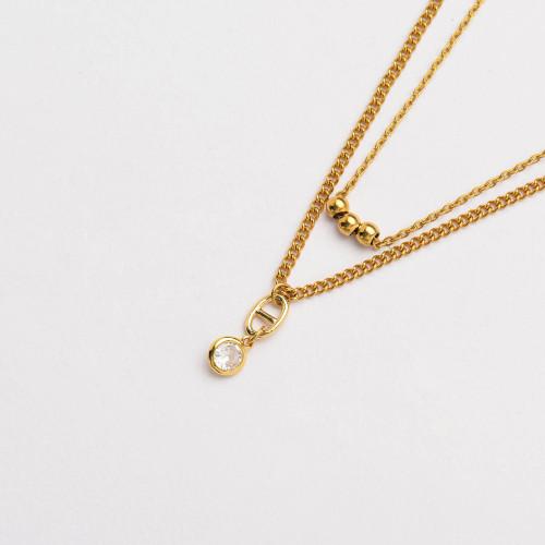 Colliers de Acero Inoxidable para Mujer al por Mayor-SSNEG142-33807